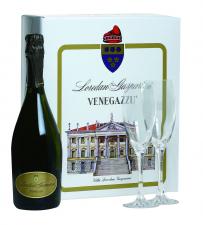 Geschenkdoos met 1 fles Loredan Gasparini Prosecco en 2 flûtes