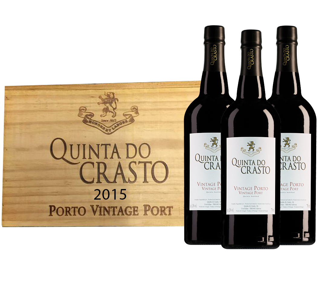 6 flessen Quinta do Crasto Vintage Port in 2 houten kisten