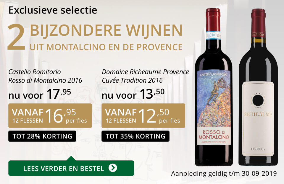 Twee bijzondere wijnen september 2019- goud/zwart