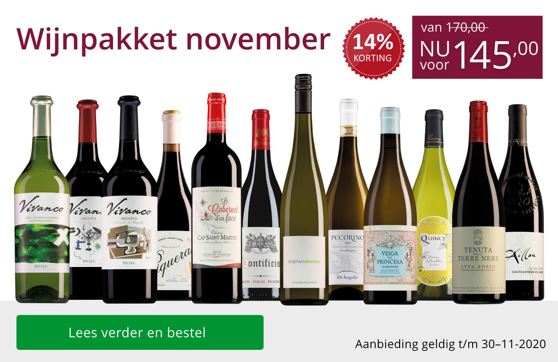 Wijnpakket wijnbericht november 2020(145,00)-paars