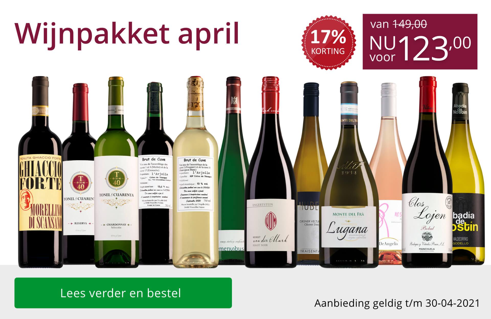 Wijnpakket wijnbericht april 2021 (123,00) - paars